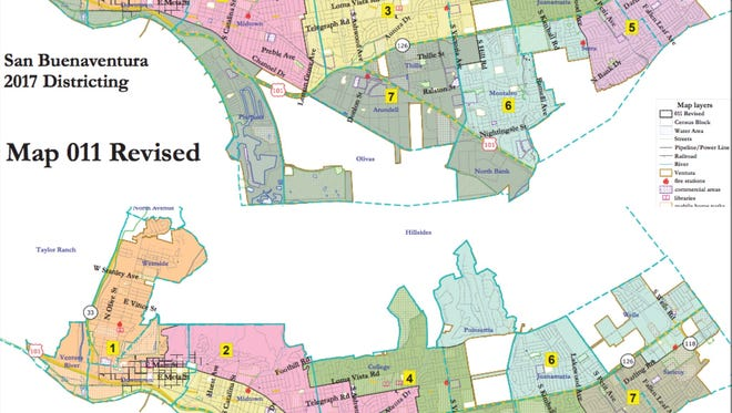 Two of the final maps Ventura is considering for its City Council districts.