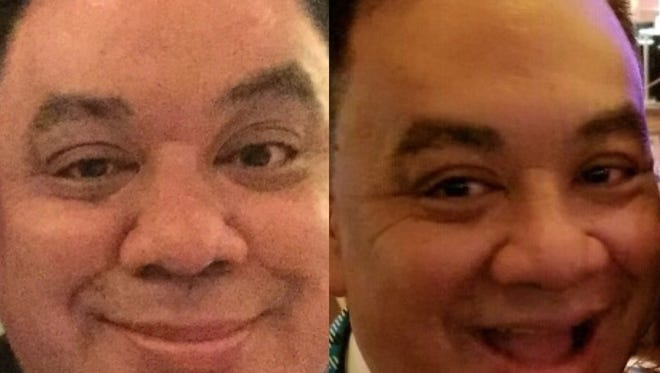Johnathan L. Wright, RGJ Media food and drink editor, in early 2017, left, and then in late 2017 after a 75-pound weight loss.