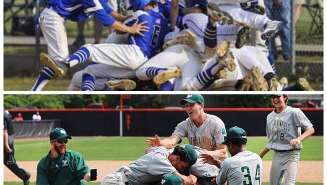 The Middlesex (top) and South Plainfield baseball teams can both stake claim to a No. 1 ranking