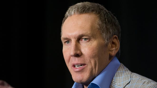 Philadelphia 76ers President of Basketball Operations Bryan Colangelo speaking during a news conference in Philadelphia.