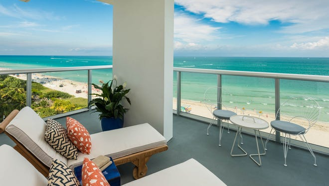 The view from a balcony at the new Thompson Miami Beach hotel.