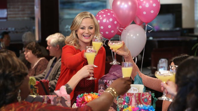 "Leslie Knope (Amy Poehler) leads a Galentine's Day celebration on TV's ""Parks and Recreation."""