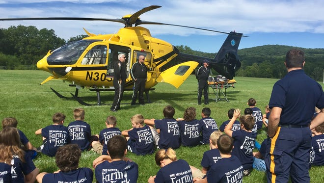 Sparta Junior Police Academy kids learn about flying an air ambulance.