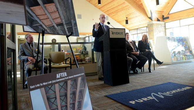 MDOT Director Kirk Steudle talks about the recent construction of the interchange Monday, Oct. 26, at the welcome center west of the Lapeer Connector on I-94/I-69 in Port Huron Township.