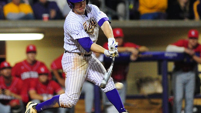 LSU shortstop Alex Bregman (8) had a an RBI triple to help the Tigers to beat Princeton in the second game of their doubleheader.