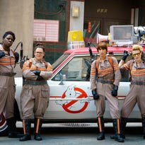 """In this image released by Sony Pictures, from left, Leslie Jones, Melissa McCarthy, Kristen Wiig and Kate McKinnon appear in a scene from the film, """"Ghostbusters,"""" which opened nationwide on July 15. (Hopper Stone/Columbia Pictures, Sony via AP)"""