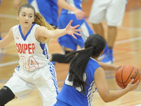 Cooper's Meri Tetaj, left, defends against San Angelo