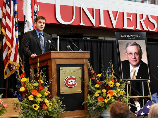 Earl H. Potter IV spoke about his father and thanked St. Cloud State University during an interfaith gathering for President Earl H. Potter III on Friday, June 17, at the Herb Brooks National Hockey Center.