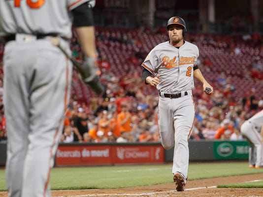 =Baltimore Orioles' J.J. Hardy (2) runs home to score on a sacrifice fly by Manny Machado off Cincinnati Reds starting pitcher Amir Garrett in the fifth inning of a baseball game, Wednesday, April 19, 2017, in Cincinnati. The Orioles won 2-0. (AP Photo/John Minchillo)