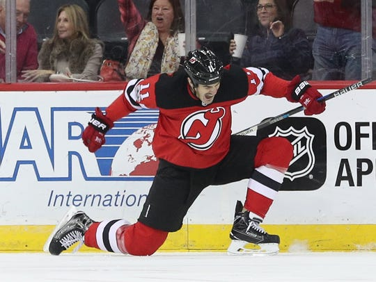 New Jersey Devils center Brian Boyle (11) celebrates