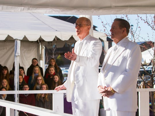Henry B. Eyring (left), first counselor in the First Presidency of The Church of Jesus Christ of Latter-day Saints, speaks during the dedication ceremony for the Cedar Temple, Sunday, December 10, 2017. Also pictured: Elder Jeffrey R. Holland (right).