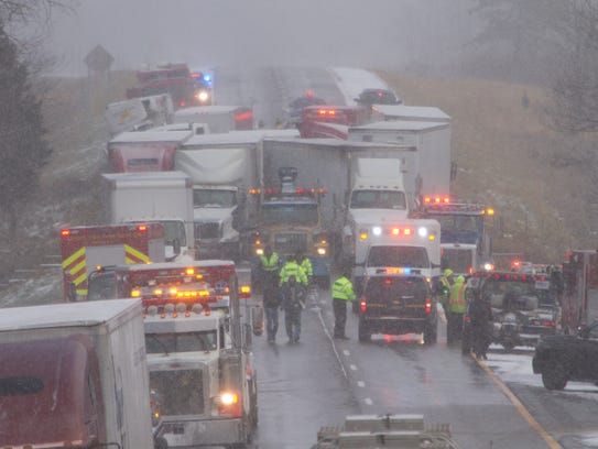A multi-vehicle accident on westbound I-96 just east