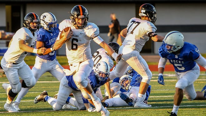 Brighton quarterback Will Jontz takes off with the football in a 10-7 loss at Salem.