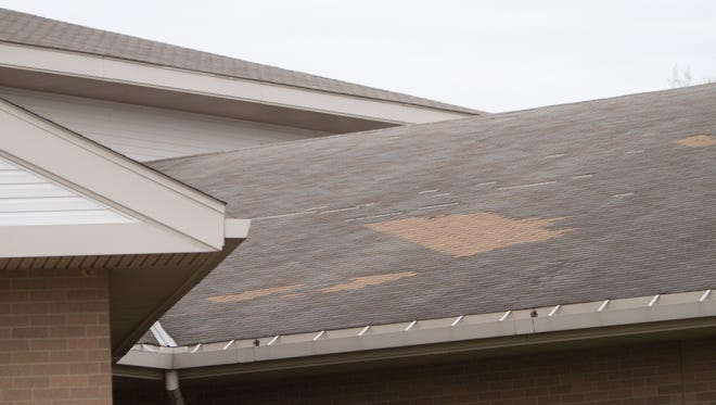 The vaulted rooftop of Kreeger Elementary in Fowlerville requires repairs. The school district has a $17.5 million bond proposal on Tuesday's ballot that if approved will include roof replacement.