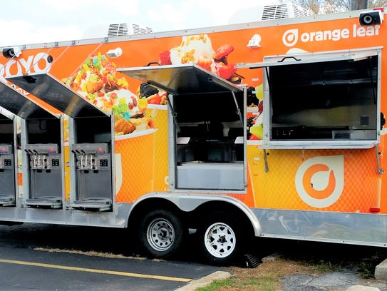 Orange Leaf on the Go is a mobile frozen-yogurt trailer