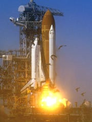 Challenger lifts off from its launch pad in January 1986.
