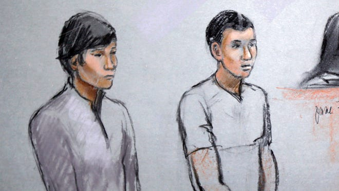 This courtroom sketch of May 1, 2013, by artist Jane Flavell Collins shows defendants Dias Kadyrbayev, left, and Azamat Tazhayakov.