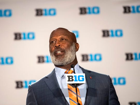 Illinois coach Lovie Smith arrived at Big Ten Media