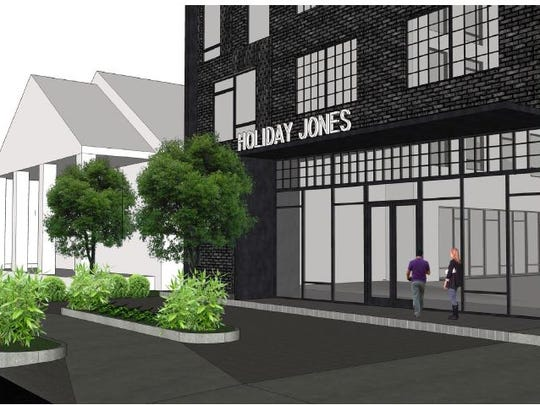 A rendering shows the previously designed Holiday Jones hotel planned for East Nashville.