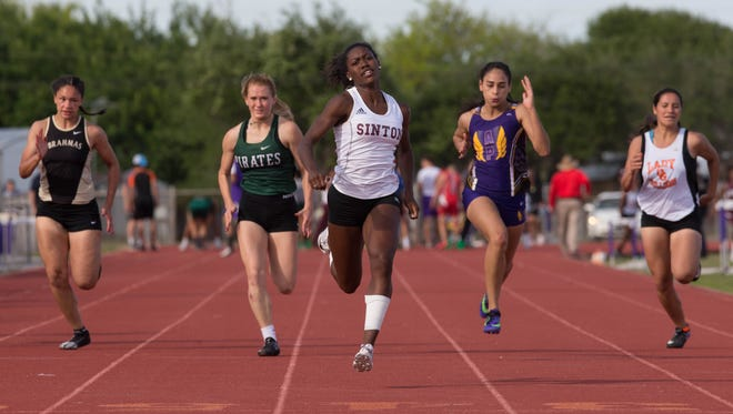 Sinton's Marlee Serrano wins the girls 100 meter dash during the district 31-4A track meet at Bo Bonorden Stadium in Aransas Pass on Thursday, April 6, 2017.