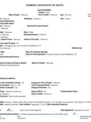 Vermont Certificate of Death for the mother, as filed with the Vermont Department of Health on September 11, 2014.