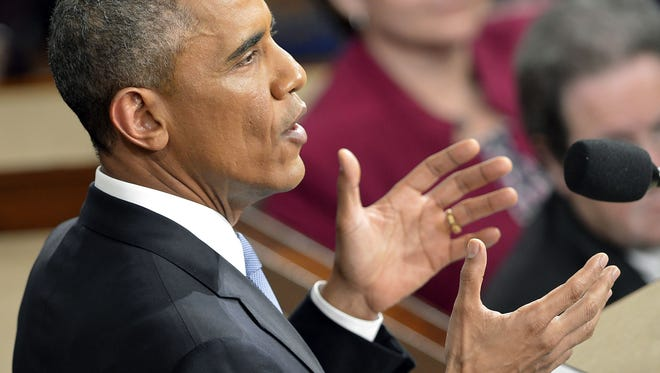 President Obama speaks during the State of the Union address on Capitol Hill Jan. 20 in Washington, D.C.