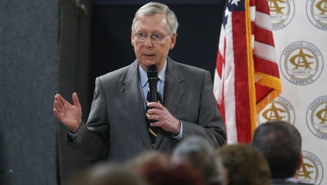 Sen. Mitch McConnell spoke to a group at the American Legion Post in Lawrenceburg.Feb. 21, 2017