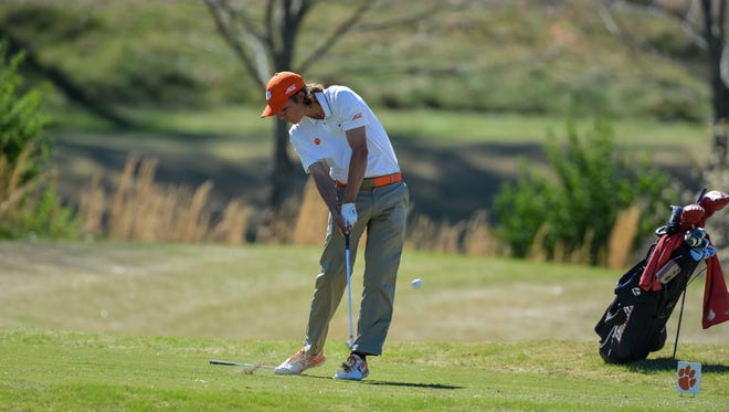Carson Young hits a shot during the 2016 Clemson Invitational at The Cliffs at Keowee Falls.