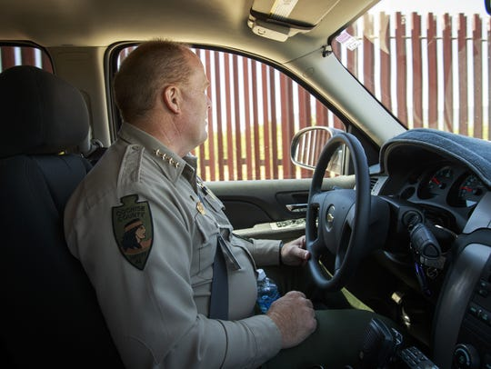 Cochise County Sheriff Mark Dannels drives from his