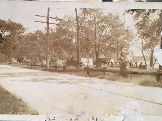 In 1933 a beautiful state park was built where the bridge and Whittemore Road meet. At that time, the north side of the road was a picnic and bathing area like today and the south side was a camping site for people with tents. Pictured above is the south side.
