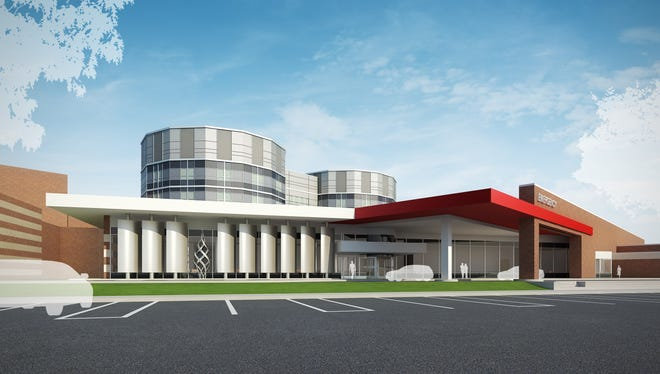 Artist's rendering of what the front of Community Hospital East at 1500 N. Ritter Ave. will look like after $175 million worth of renovations announced on Wednesday, Sept. 17, 2014.