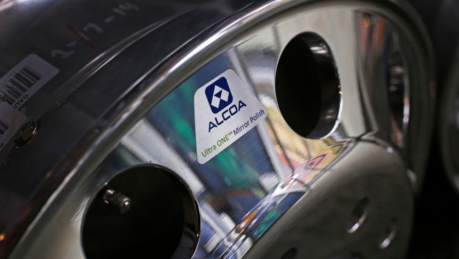 An Alcoa aluminum Ultra One Truck Wheel with MagnaForce alloy on display at Alcoa's headquarters in Pittsburgh.