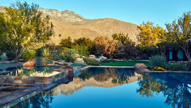 Landscape architect Bennett Puterbaugh recently renovated the exterior of this eclectic Palm Springs ranch.