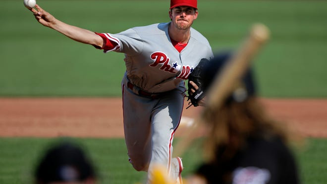 Philadelphia Phillies starting pitcher Aaron Nola delivers a pitch during the third inning Saturday against the Pittsburgh Pirates.