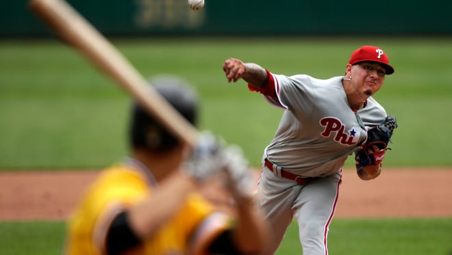 Philadelphia Phillies starting pitcher Vince Velasquez delivers a pitch in the fourth inning Sunday against the Pittsburgh Pirates.
