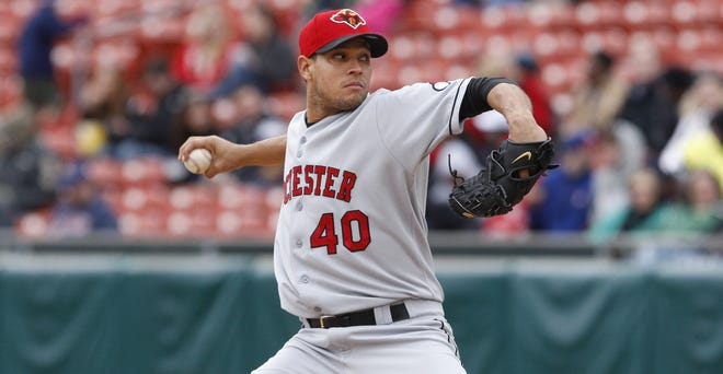 Red Wings pitcher Yohan Pino pitches