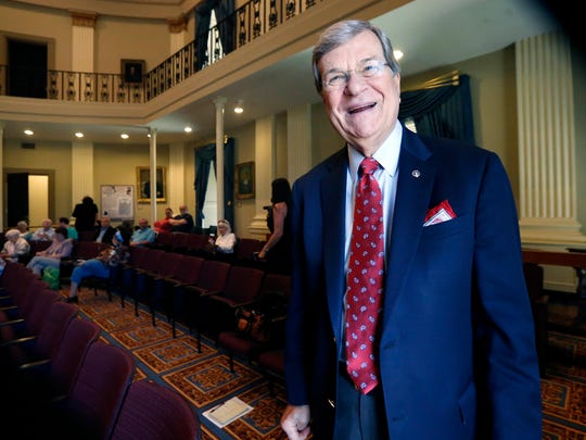 In this file photo, Former U.S. Senate Majority Leader Trent Lott laughs at his own comment about the Republican presidential race prior to addressing an audience at the Old Capitol Museum. Lott said he will vote for Donald Trump for president, though he acknowledges he didn't expect the New York businessman to win the Republican nomination.