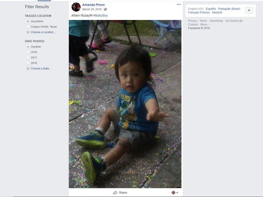 A Facebook post from an account appearing to belong to Amanda Pinon shows a photo of Athen Pinon in 2016. Athen, 4, was found dead in a home on Sunday, June 17, 2018. Amanda Pinon, his mother, and Michael Duty are suspects in his murder.