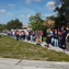 Astronaut High School students stand in line to be checked out on Wednesday.