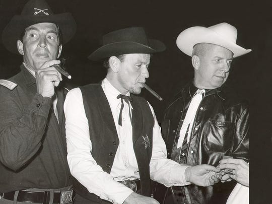 Dean Martin (from left), Frank Sinatra and Jimmy Van Heusen.