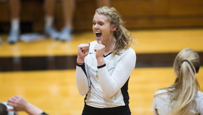 Anderson University freshman Kathryn Hughes accounted for 10 kills each in conference wins over Wingate and Coker this weekend.