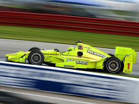 2016 Honda Indy 200 winne Simon Pagenaud was fastest Friday morning at the Mid-Ohio Sports Car Course during IndyCar practice for the Honda Indy 200 at Mid-Ohio.