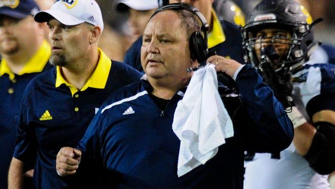 Sep 3, 2016; Tempe, AZ, USA;  Northern Arizona Lumberjacks head coach Jerome Souers.