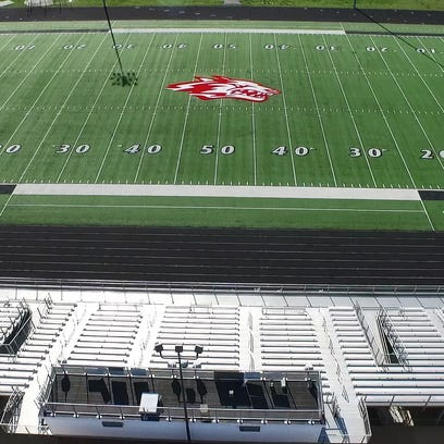 An aerial photograph shows what used to be the turf