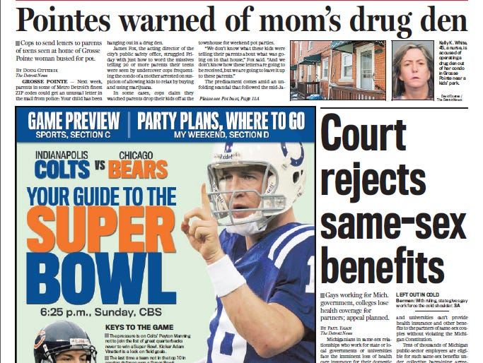 View the front page of The Detroit News each day of the week of January 29, 2007.