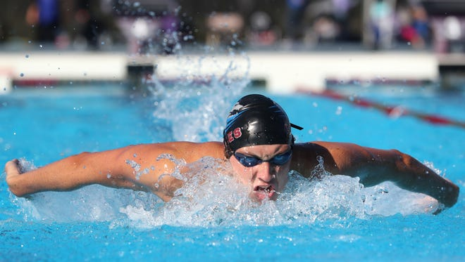 Wyatt Foote of Chiles swims the 200 IM during the Region 1-3A swimming and diving meet at the Morcom Aquatics Center on Wednesday, Nov. 1, 2017.