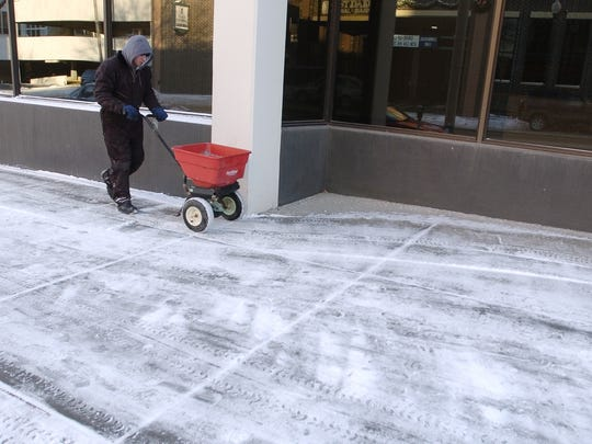 If snow and ice cannot be removed from a particular area, spread ice melt or sand or to improve traction.
