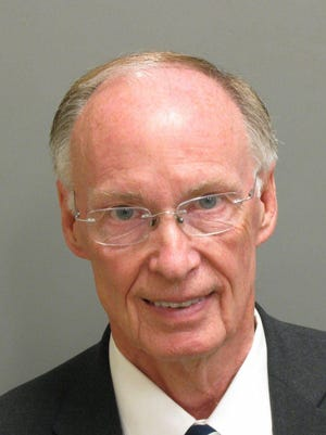 This photo provided Montgomery County Sheriff's office shows a booking mugshot of Alabama Gov. Robert Bentley on Monday. Jail records show Bentley has been booked on two misdemeanor charges that arose from the investigation of alleged affair with a top aide.