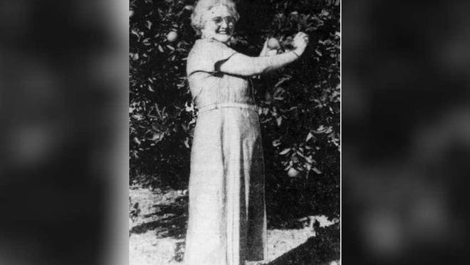 Janie Stackhouse in her orange grove near Avon Park. She later was murdered.