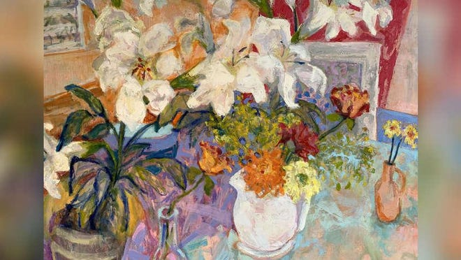 Flowers, a 48 inch by 36 inch oil painting, is one of about 80 works in Ellen Liman's retrospective show.
